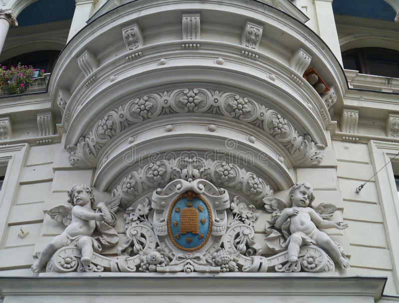 Facade in Graz in Austria. A detail of a decoration of a front with angels in Graz in Austria royalty free stock photos