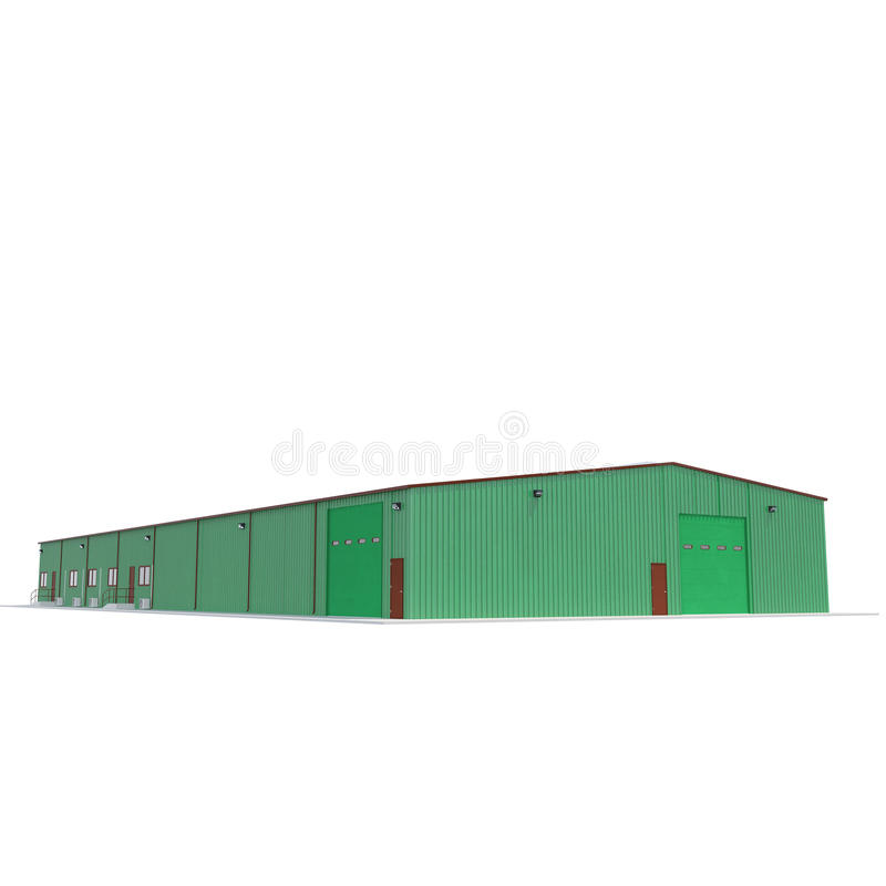 Facade of green storage warehouse with closed gate isolated on white. 3D illustration. Facade of green storage warehouse with closed gate isolated on white stock illustration
