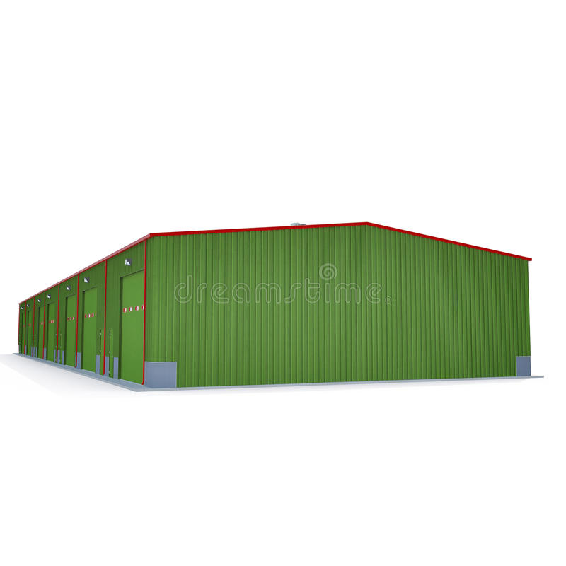 Facade of green storage warehouse with closed gate isolated on white. 3D illustration. Facade of green storage warehouse with closed gate isolated on white royalty free illustration