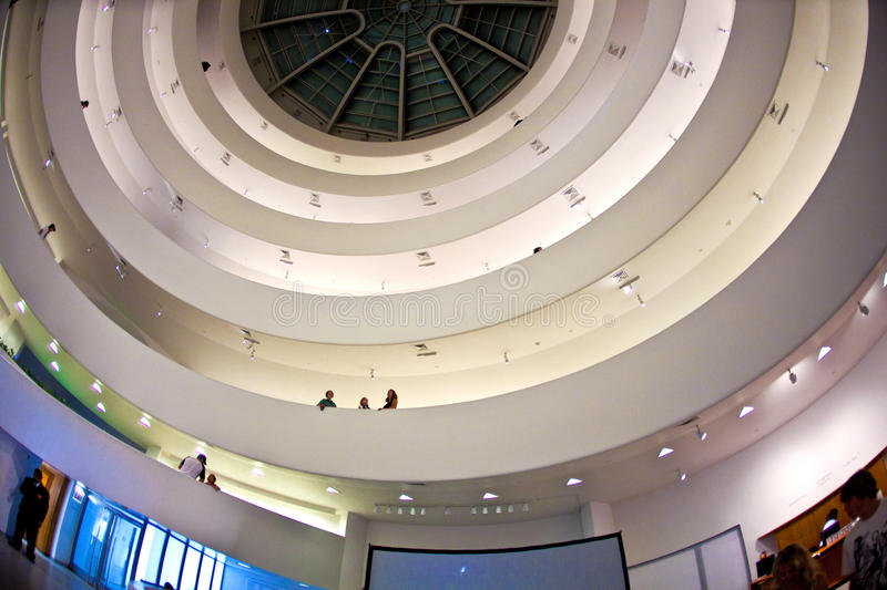 Facade of the Guggenheim Museum. NEW YORK, USA - JULY 17: inside the famous Guggenheim museum with the winding construction in the afternoon on 17. Juli 2010 stock images