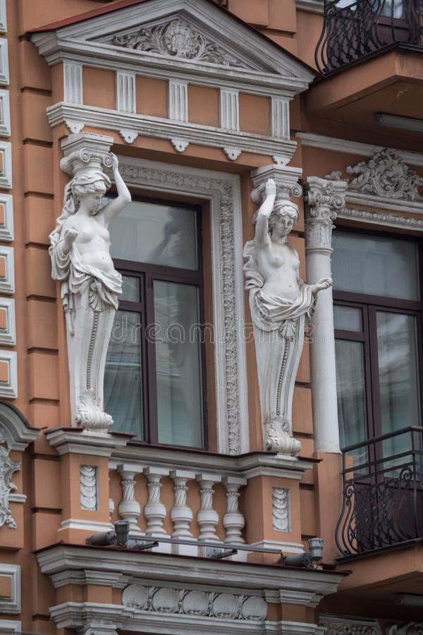 Facade of a historic building with statues. Kiev. Ukraine royalty free stock images
