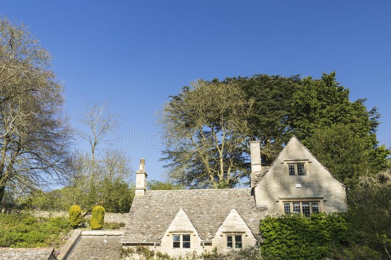 Facade of Historic Houses of Bilbury Cotage in Cotswolds, United royalty free stock photos