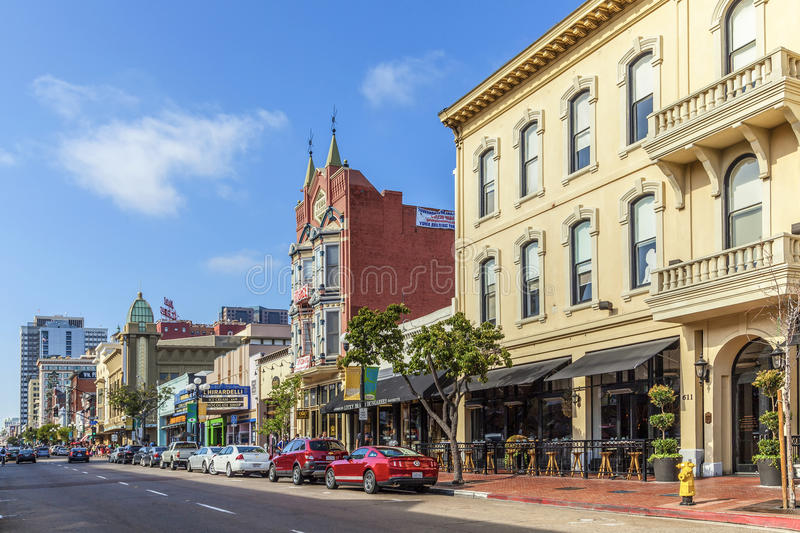 Facade of historic houses in the gaslamp quarter in San Diego. SAN DIEGO, USA - JUNE 11, 2012: facade of historic houses in the gaslamp quarter in San Diego, USA royalty free stock images