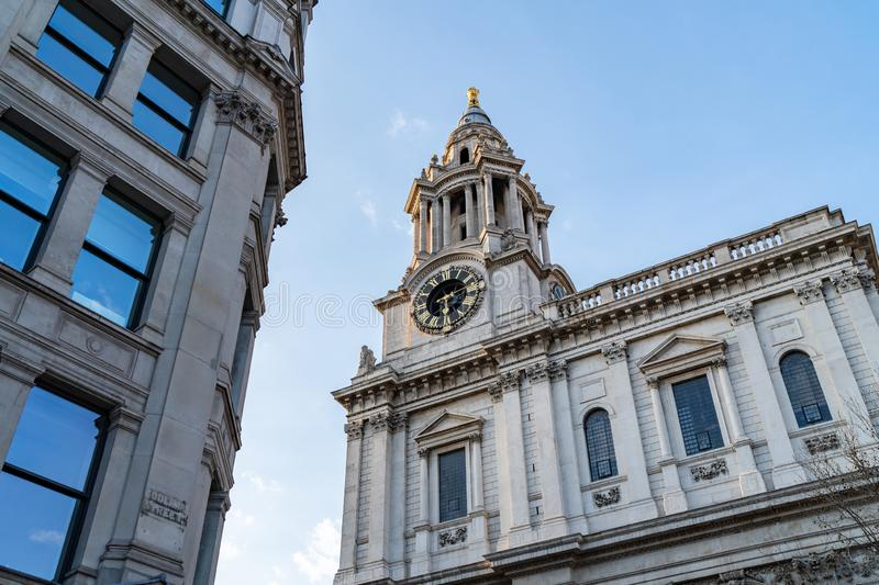 Facade of Historical Building on a Sunny Day in London, United Kingdom stock photography