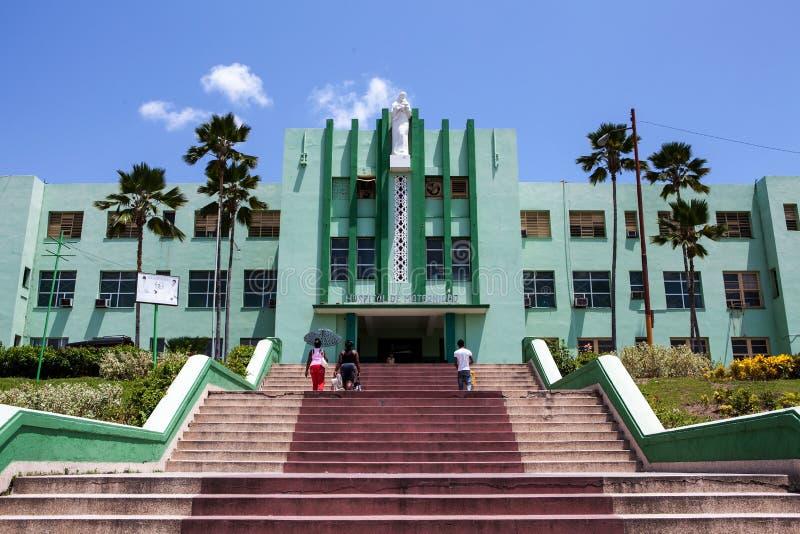 Facade of the Hospital Provincial Ambrosio Grillo in Santiago de Cuba stock photos