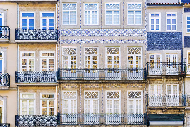 Facade of the house in the city of Porto, Portugal stock photo