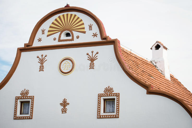 Facade of house in Holasovice, Czech Republic stock photos