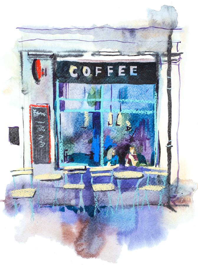 Facade of house with the old cafe. Watercolor illustration vector illustration