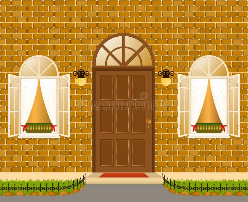 facade of house with windows royalty free illustration