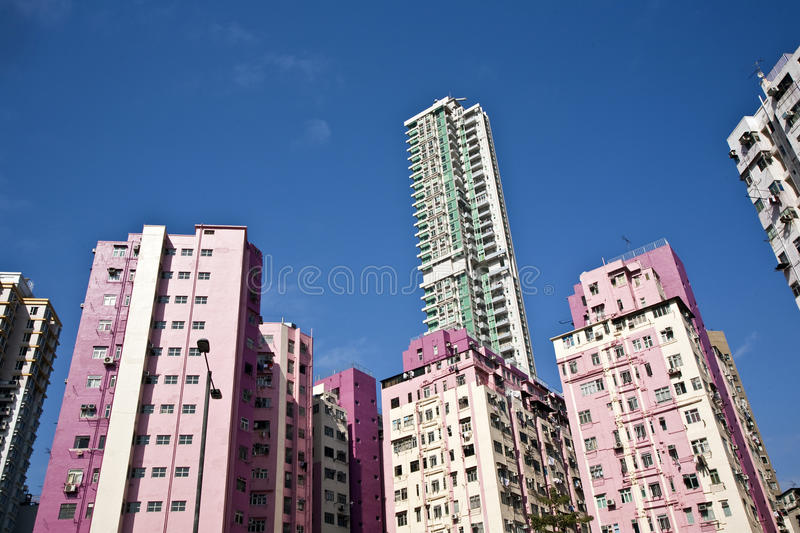 Facade of houses downtown Kowloon royalty free stock photography