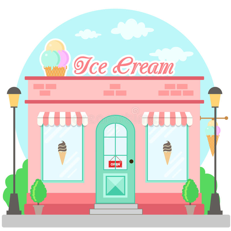 Facade ice cream shop with a signboard, awning and symbol in shopwindow. Front shop for brochure or banner. Vector illustration stock illustration