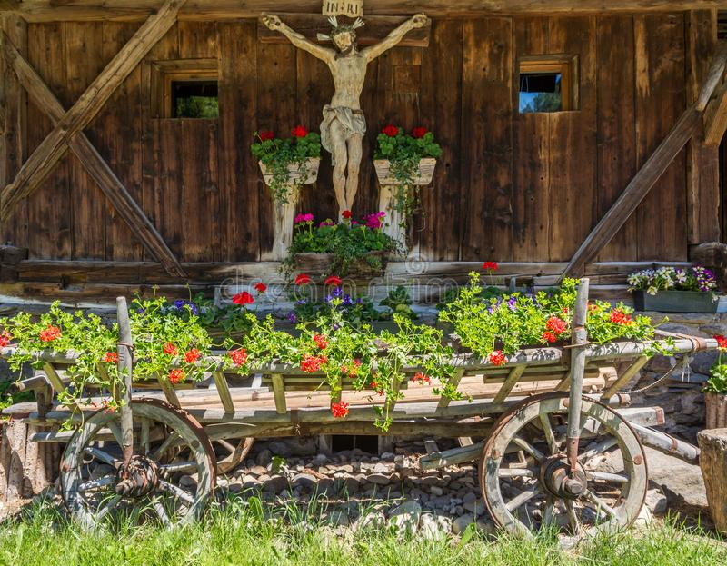 Facade if an wooden house typical in a alps village on Ridnaun Valley/Ridanna Valley - Racines country - near Sterzing/Vipiteno, S. Outh Tyrol, northern italy stock image