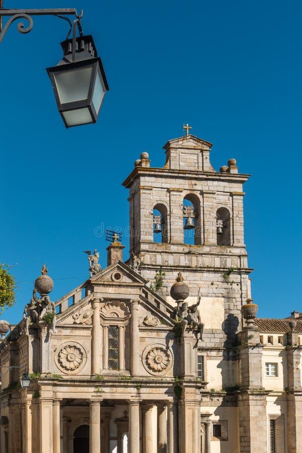 Facade of the Igreja da Graca church of Evora. Alentejo Portugal stock images
