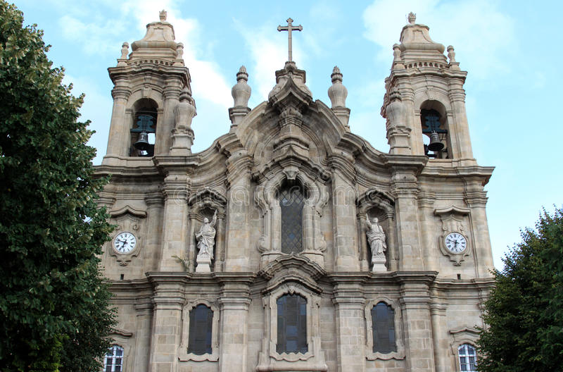 Facade of Igreja dos Congregados, Braga, Portugal. The Congregados Basilica or Igreja dos Congregados is a 18th-century baroque Basilica in the portuguese town stock photography
