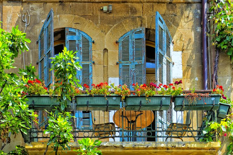 Facade Jaffa Israel. An old facade in the flea market Jaffa Israel stock image