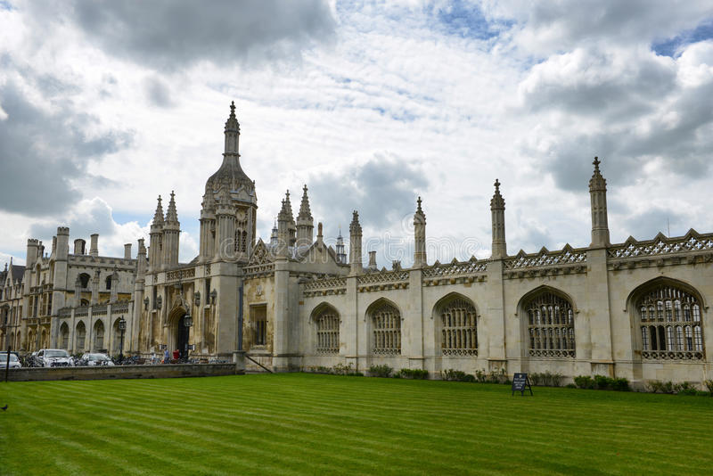 Facade of Kings College Chapel, U of Cambridge royalty free stock images