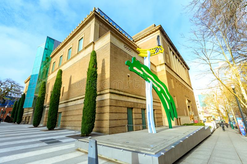 Facade of the landmark Portland Art Museum in Portland, Oregon stock photos