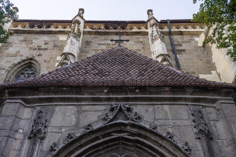 Facade of the largest Gothic building in Brasov, Romania, The Black Church Biserica Neagra stock photos