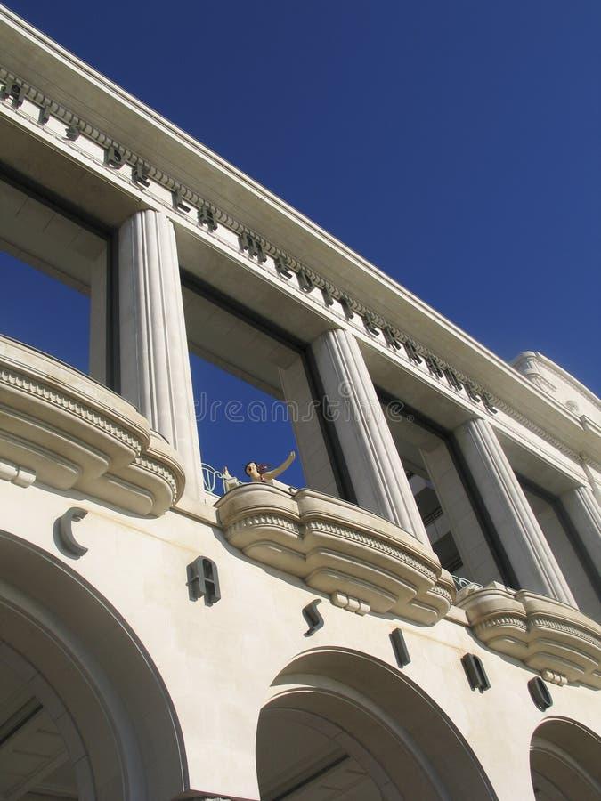 Facade of Le Palais de la Mediterranee hotel royalty free stock photography