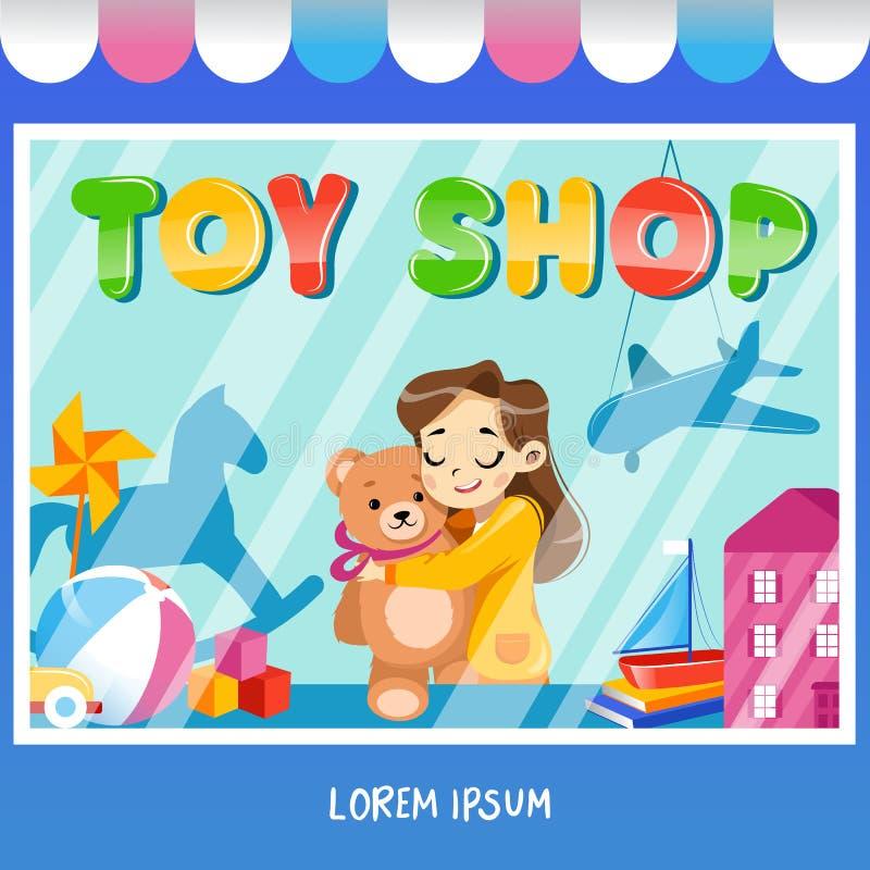 Facade leksaksbutiker med en skylt, en tjej med tedybjörn, leksaker och leksaker i sopwindow stock illustrationer