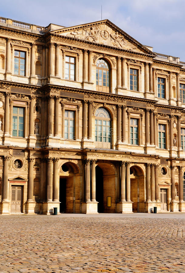 Facade Of The Louvre Stock Photos