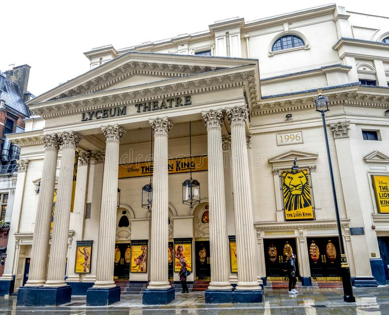 Facade of Lyceum Theatre in West End, London, United Kingdom. October 2017 royalty free stock image