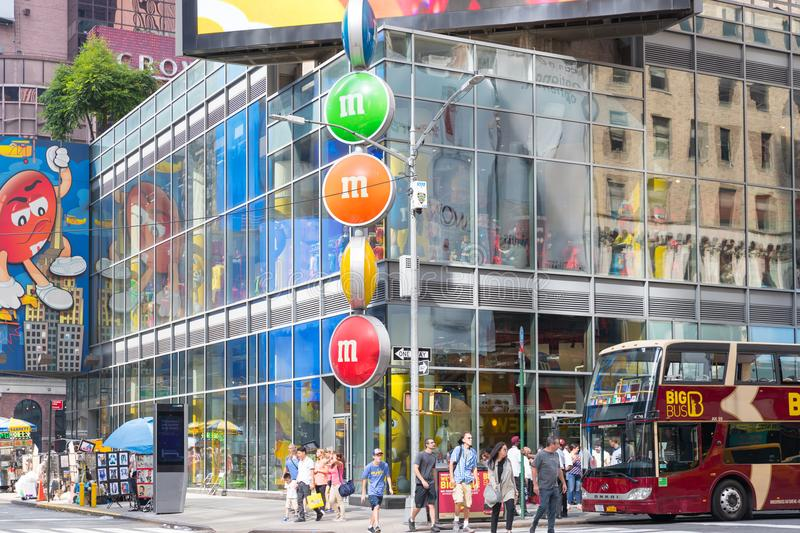 Facade of M&M`s shop at Time Square in New York city royalty free stock image