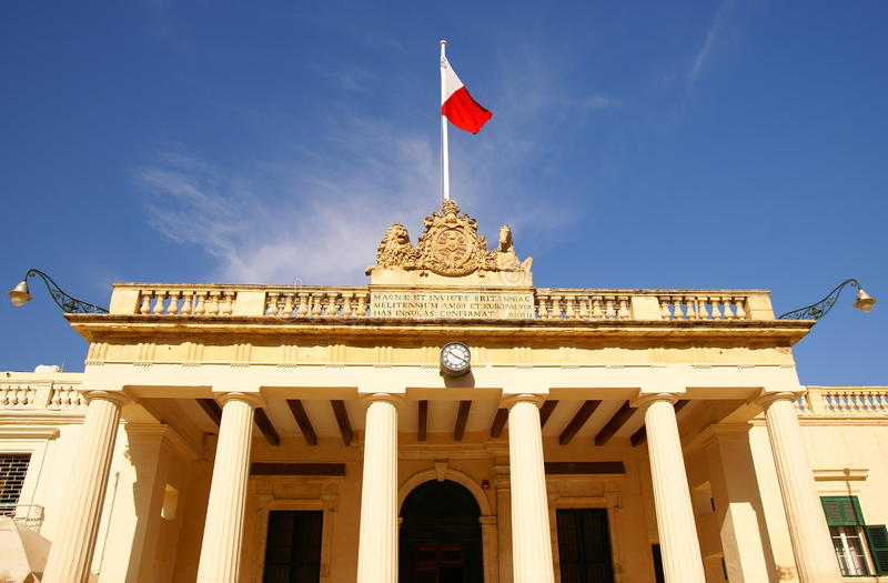 Facade of the The Main Guard building and the Chancellery in the Pallace Square in Valletta, Island of Malta. The Main Guard building and the Chancellery in the royalty free stock photos