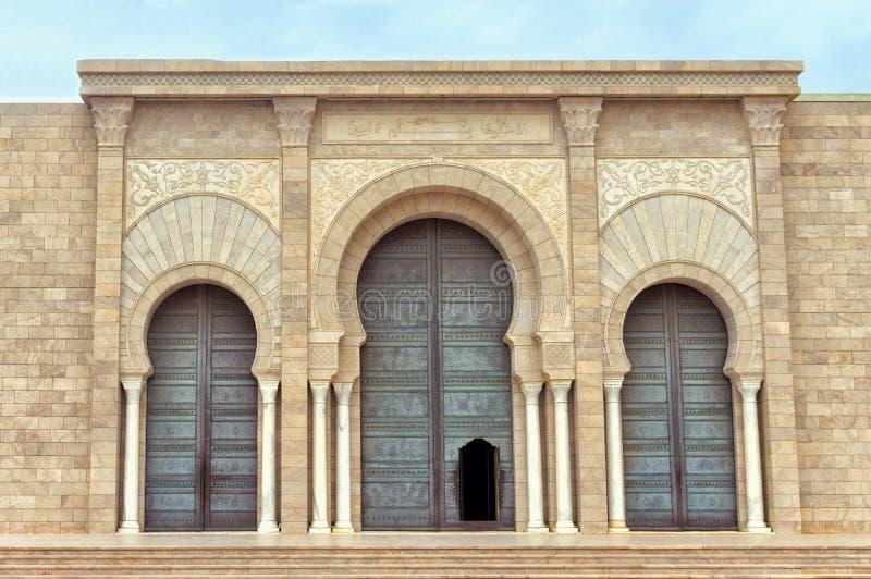 Facade of the Malik ibn Anas Mosque in Carthage, Tunisia royalty free stock photos