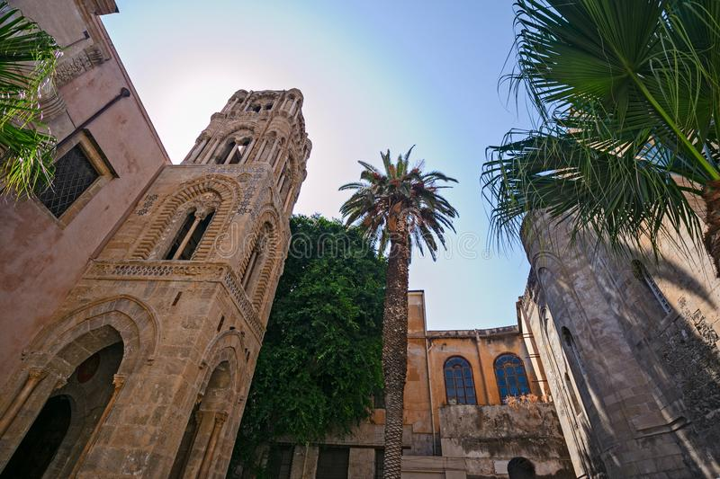 The facade of the Martorana church in Palermo, with its beautiful tower, in the Arab Norman style stock photo
