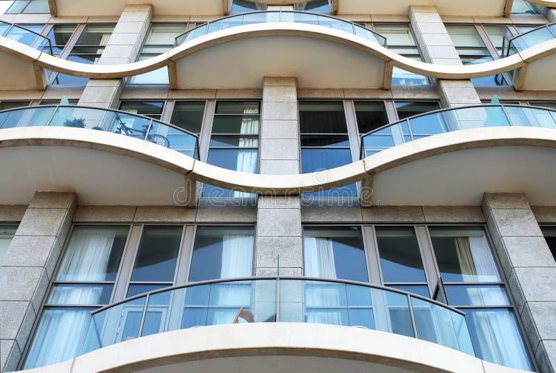 Facade of a modern apartment house. stock photo