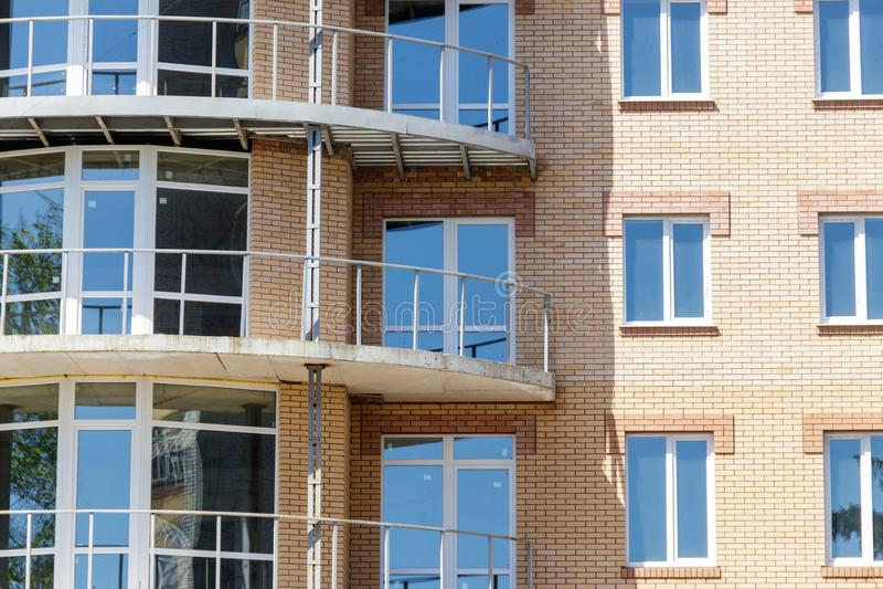 Facade of modern brick building close-up stock image