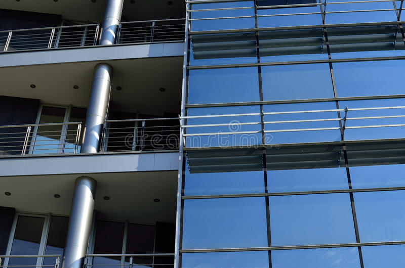 Facade of Modern Building. Glass, metal and concrete royalty free stock images