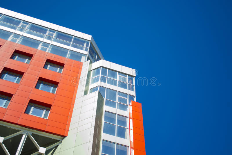 Facade of a modern building in the style hi-tech royalty free stock image