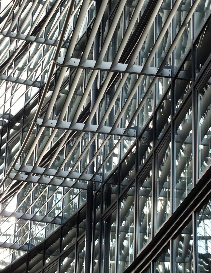 Facade Of Modern Hightech Glass And Steel Building Stock Image