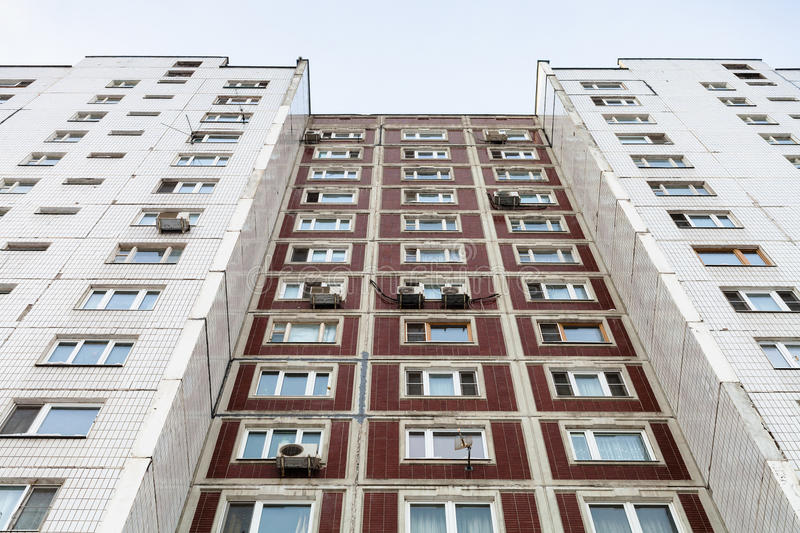Facade of multistory apartment house. In winter day stock images