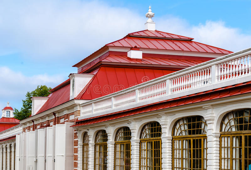 The facade of the Museum of the Palace Monplaisir in Peterhof, near St. Petersburg. royalty free stock image