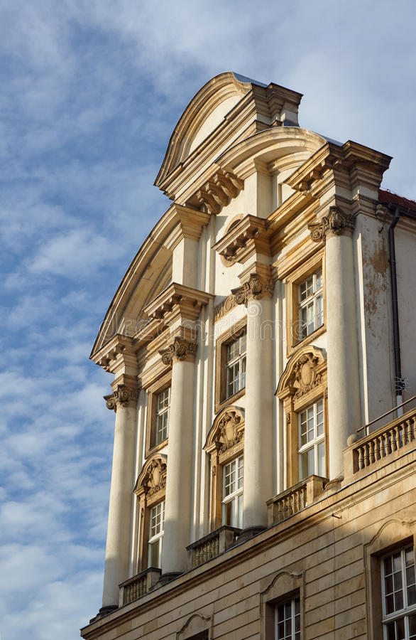 The facade of the neo-Baroque building. In Poznan royalty free stock images