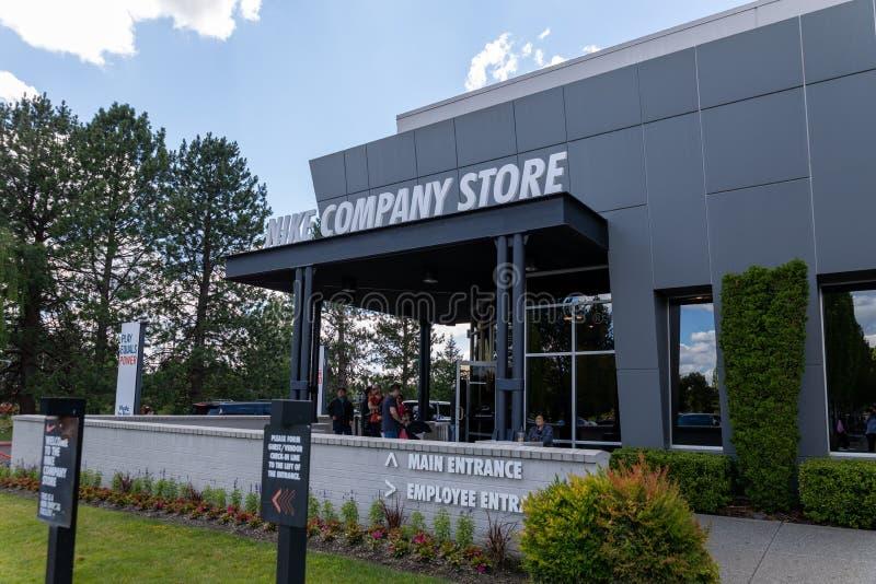 Facade of Nike company store in Beaverton, Oregon. Beaverton, Oregon - June 29, 2019 : Facade of Nike company store royalty free stock photo