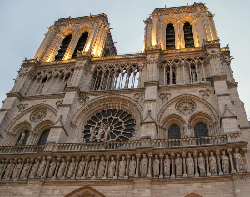 Facade Notre Dame in Paris. Catholic Church in the center of Paris, one of the symbols of the French capital royalty free stock photo