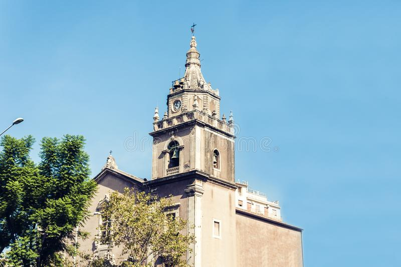 Facade of old cathedral on historical street of Catania, Sicily, Italy.  royalty free stock photo