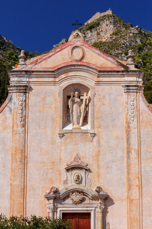 Taormina. Church of St. Giuseppe. The facade of the old church of St. Giuseppe. Taormina. Italy. Sicily royalty free stock images