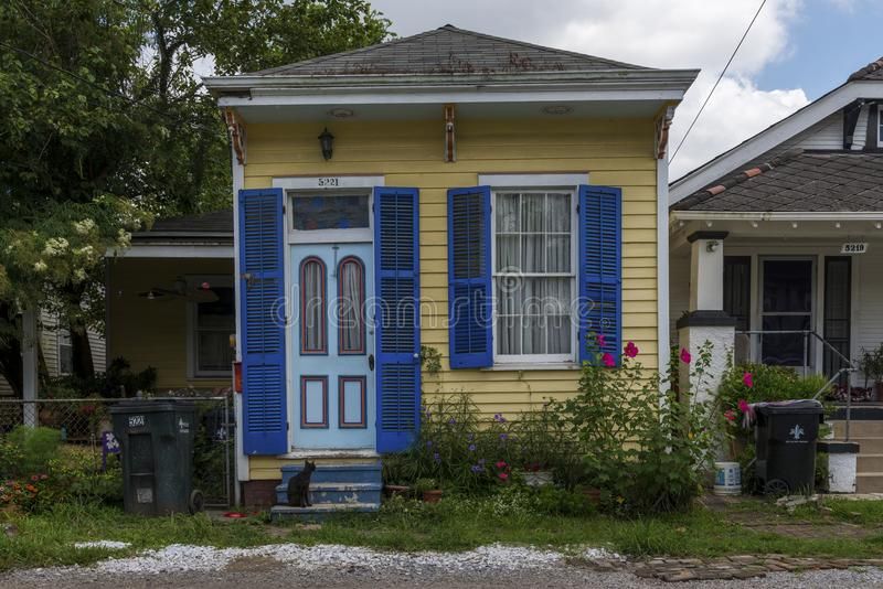 The facade of an old and colorful creole house in the Faubourg Lafayette neighborhood in the city of New Orleans, Louisiana royalty free stock photos