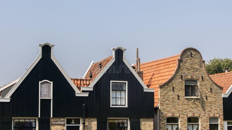 Facade of an old Dutch street stock photo