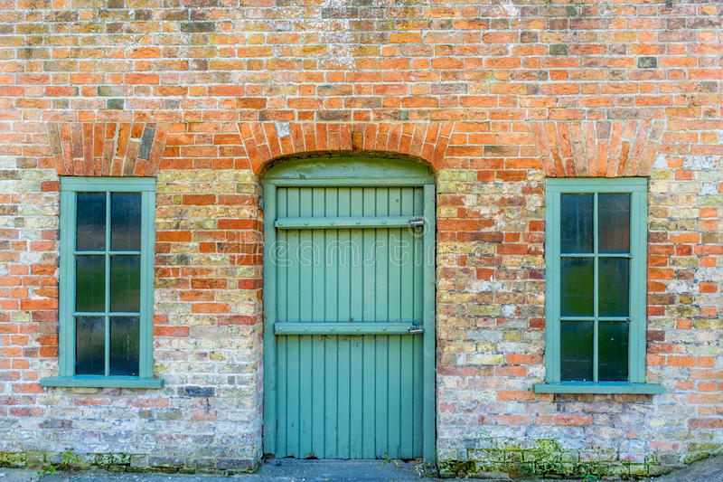 Facade of an old english house. Near Black Museum in Bridgwater, is situated this old building stock photography