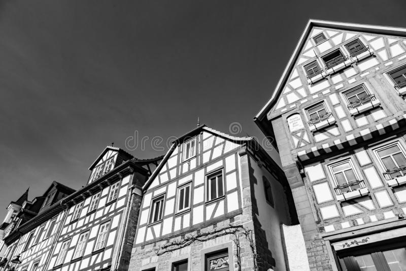 Facade of old historic houses from public area in Gelnhausen stock photography
