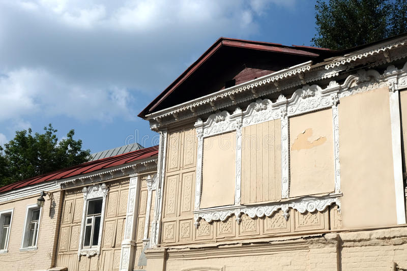 Facade of old house in rural city horizontal photo closeup. Facade of old vintage house in rural city horizontal photo closeup stock photography