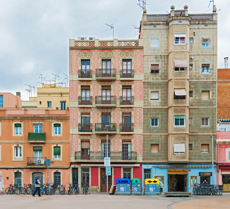Barcelona Houses: Facade Of The Old Houses In Barcelona, Spain Editorial