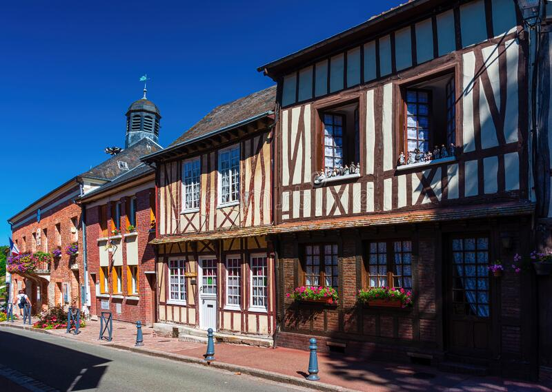 Facade of old houses in the village of Lyons la Foret stock image