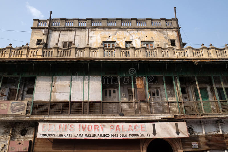 Facade of old Indian building Delhi Ivory Palace in Delhi royalty free stock photos
